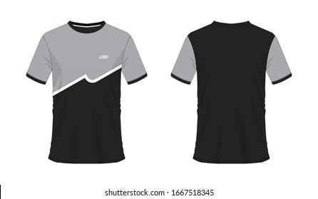 T-shirt grey and black soccer or football template for team club on white background. Jersey sport, vector illustration eps 10.