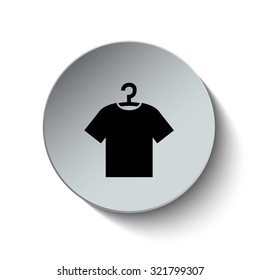 Tshirt with hanger icon. Clothes icon. Rounded button. Vector Illustration. EPS10
