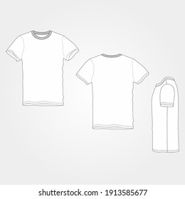T-Shirt Henley Vector Outline Template Front and Back View