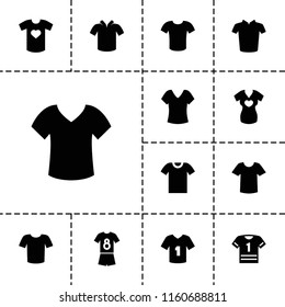 Tshirt icon. collection of 13 tshirt filled icons such as shirt, t-shirt. editable tshirt icons for web and mobile.
