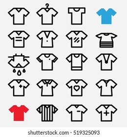 T-shirt icons set. Football shirt. Soccer clothing. Referee. Apparel vector. Laundry icon