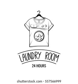 T-shirt machine concept. laundry and dry cleaning badge. Vector illustration