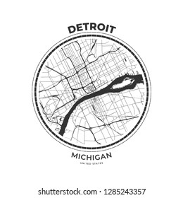 T-shirt map badge of Detroit, Michigan. Tee shirt print typography label badge emblem. Vector illustration