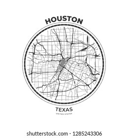 T-shirt map badge of Houston, Texas. Tee shirt print typography label badge emblem. Vector illustration