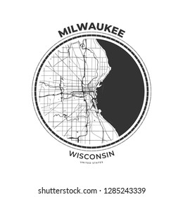 T-shirt map badge of Milwaukee, Wisconsin. Tee shirt print typography label badge emblem. Vector illustration
