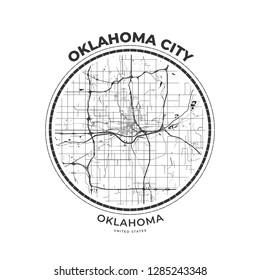 T-shirt map badge of Oklahoma City, Oklahoma. Tee shirt print typography label badge emblem. Vector illustration
