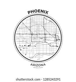 T-shirt map badge of Phoenix, Arizona. Tee shirt print typography label badge emblem. Vector illustration