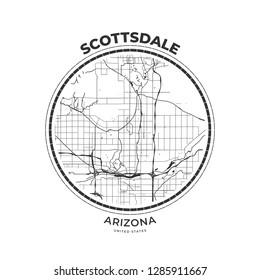 T-shirt map badge of Scottsdale, Arizona. Tee shirt print typography label badge emblem. Vector illustration
