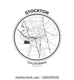 T-shirt map badge of Stockton, California. Tee shirt print typography label badge emblem. Vector illustration