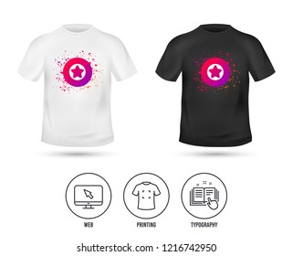 T-shirt mock up template. Star sign icon. Favorite button. Navigation symbol. Realistic shirt mockup design. Printing, typography icon. Vector