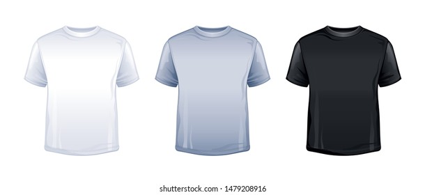 T-shirt mock up in white, gray, black color. Blank tshirt mockup. Trendy unisex sport t shirt model for kid, teen, adult. Fashion body wear icon. 3d Vector  illustration set, isolated background
