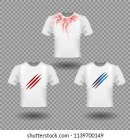 T-Shirt Mockup with Claws scratches and human veins, red blood vessels design