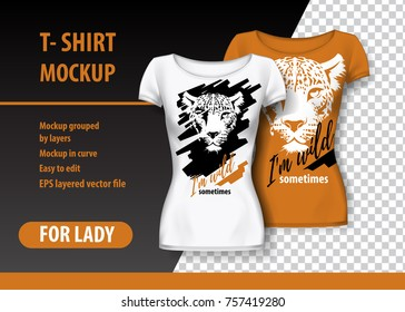 T-Shirt Mockup with leopard and funny phrase in two colors. Mockup layered and editable.
