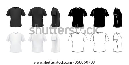 Tshirt Mockup Set 3 D Realistic Outline Stock Vector (Royalty Free ... 799d26038