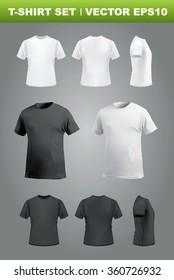 T-shirt mockup set, front, side, back and perspective view. Vector eps10 illustration