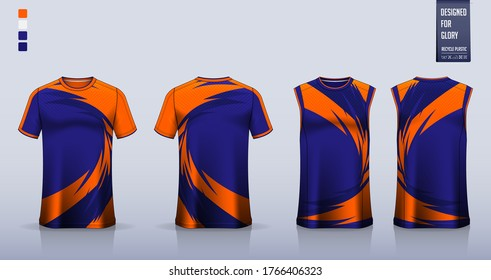 T-shirt mockup, sport shirt template design for soccer jersey, football kit. Tank top for basketball jersey or running singlet. Blue Sport uniform in front view, back view. Shirt mock up Vector.