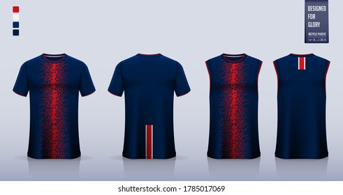 T-shirt mockup, sport shirt template design for soccer jersey, football kit. Tank top for basketball jersey or running singlet. Blue Sport uniform in front view, back view. Shirt mockup Vector.