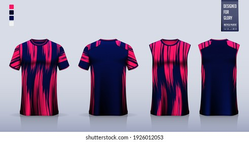 T-shirt mockup or sport shirt template design for soccer jersey or football kit. Tank top for basketball jersey or running singlet. Fabric pattern for sport uniform in front view back view. Vector.