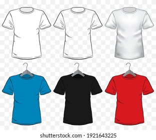 Tshirt mockup vector illustration set with transparent background. Different type and color of short sleeve shirt templates on hanger.