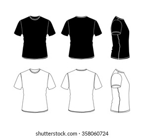 T-shirt outline icon collection, vector eps10 silhouette illustration isolated on white background, front, back and side views