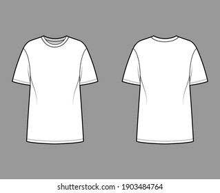 T-shirt oversized technical fashion illustration with short sleeves, crew neck, dropped shoulder, elongated hem. Flat apparel top outwear template front, back, white color. Women men unisex CAD mockup