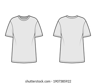T-shirt oversized technical fashion illustration with short sleeves, crew neck, dropped shoulder, elongated hem. Flat apparel top outwear template front, back, grey color. Women men unisex CAD mockup