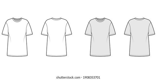 T-shirt oversized technical fashion illustration with short sleeves, crew neck, dropped shoulder, elongated hem. Flat apparel top template front, back, white, grey color. Women men unisex CAD mockup