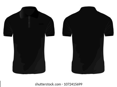 T-shirt Polo black template for design on white background. Vector illustration eps 10.