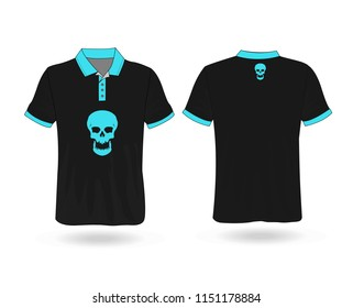 T-shirt Polo Blue and black with Skull template for design on white background. Vector illustration eps 10.