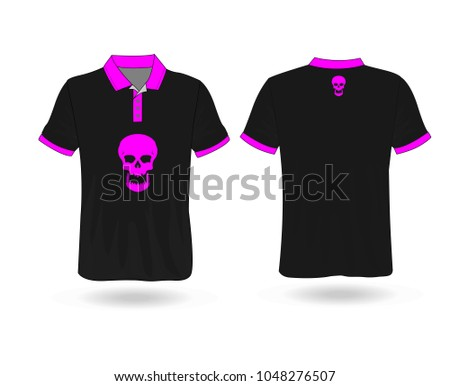 bd1bbf5e T-shirt Polo design sport with Pink skull logo Template for design on white  background