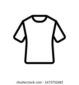 T-shirt or polo dress, outline design. Black icon on white background