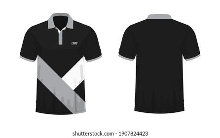 T-shirt Polo grey and black template for design on white background. Vector illustration eps 10.