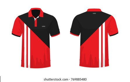 1edf4508e T-shirt Polo red and black template for design on white background. Vector  illustration