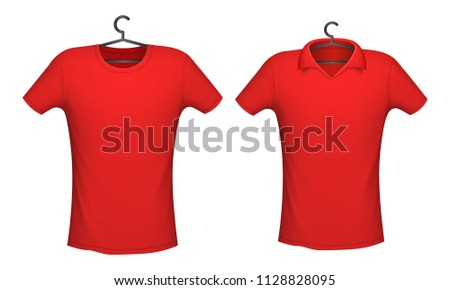 bc61e497c T-shirt and Polo red color mockup for design print, vector illustration