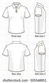 T-shirt polo template set, front, side, back view. Vector eps 8 illustration.