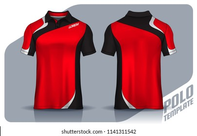t-shirt polo templates design. uniform front and back view.