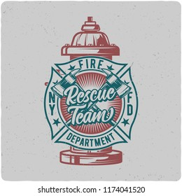 T-shirt or poster design with illustration of fire hydrant. Design with text composition.
