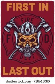 T-shirt or poster design with illustration of firefighter's skull