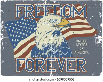 T-shirt or poster design with illustration of flag of usa and eagle's head