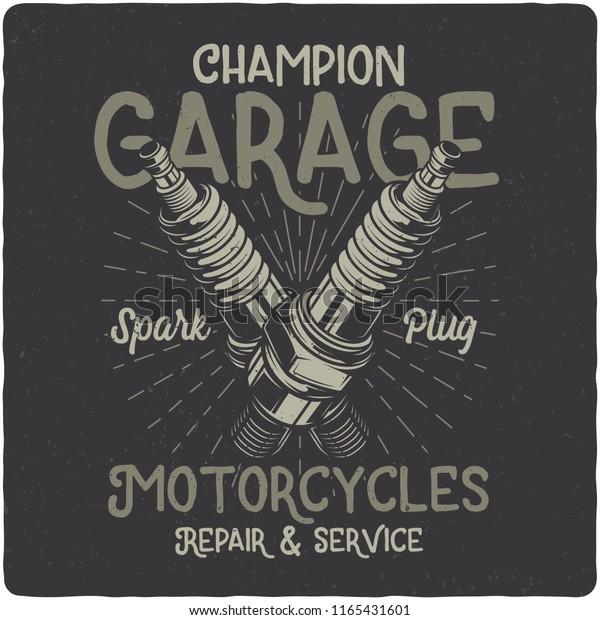 Tshirt Poster Design Illustration Motorcycle Spark Stock