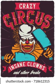 T-shirt or poster design with illustration of scary clown