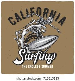 T-shirt or poster design with illustration of skeleton on surfing board.