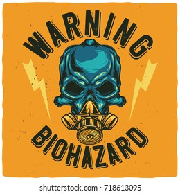 T-shirt or poster design with illustration of skull at gas mask
