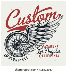 T-shirt or poster design with illustration of the wheel and the wing.