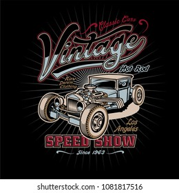 9d29a7036 T-shirt, poster or postcards design with illustration of hot rod