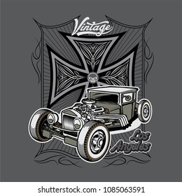 T-shirt, poster or postcards design with illustration of hot rod on a iron cross background