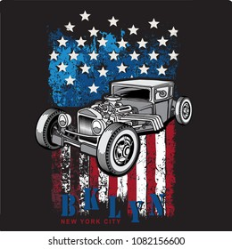 T-shirt, poster or postcards illustration with hot rod on grunge American flag
