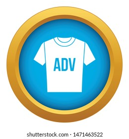 T-shirt with print ADV icon blue vector isolated on white background for any design