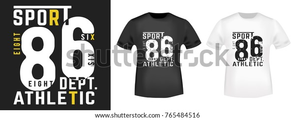 Tshirt Print Design Athletic Sport Vintage Stock Vector