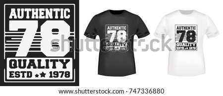 2e5571320 T-shirt print design. Authentic 78 vintage stamp and t shirt mockup.  Printing and badge applique label t-shirts, jeans, casual wear. Vector  illustration.